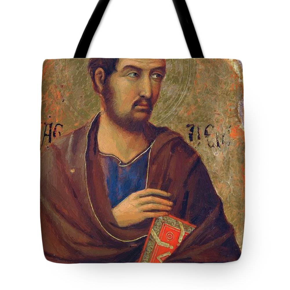 The Tote Bag featuring the painting The Apostle Thaddeus 1311 by Duccio