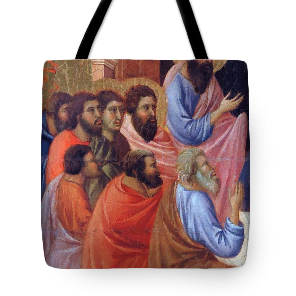The Tote Bag featuring the painting The Apostles Of Maria Fragment 1311 by Duccio