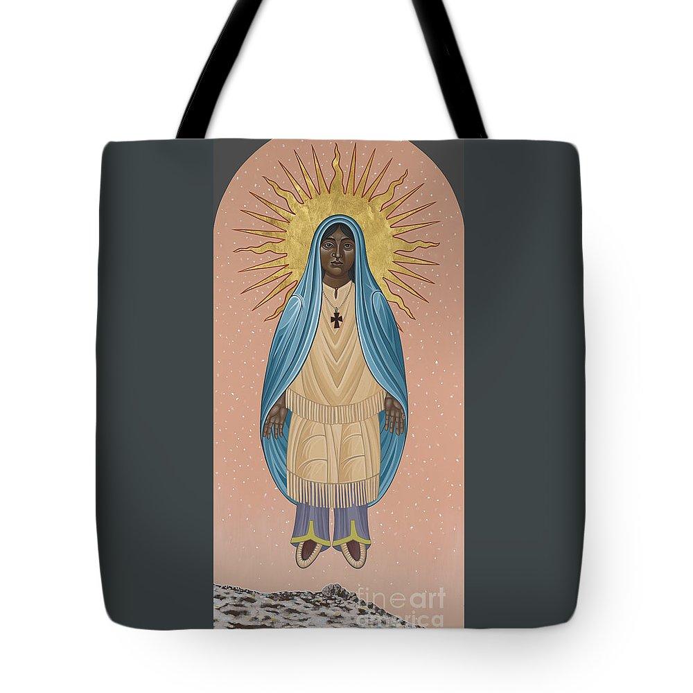 The Apparition Of St Kateri Tekakwitha Tote Bag featuring the painting The Apparition Of St Kateri Tekakwitha 192 by William Hart McNichols