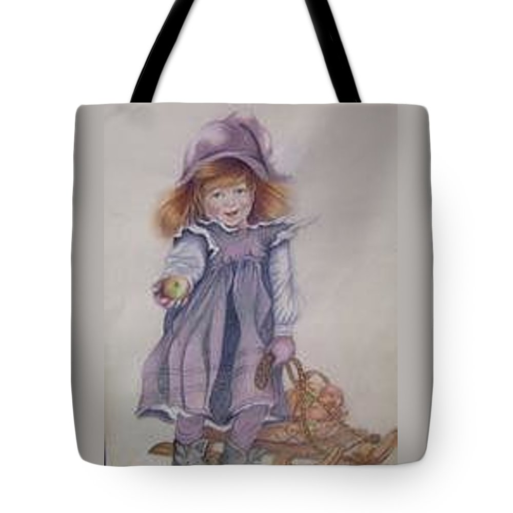 Portrait Tote Bag featuring the drawing The Apple Girl by Tricia Hennessey