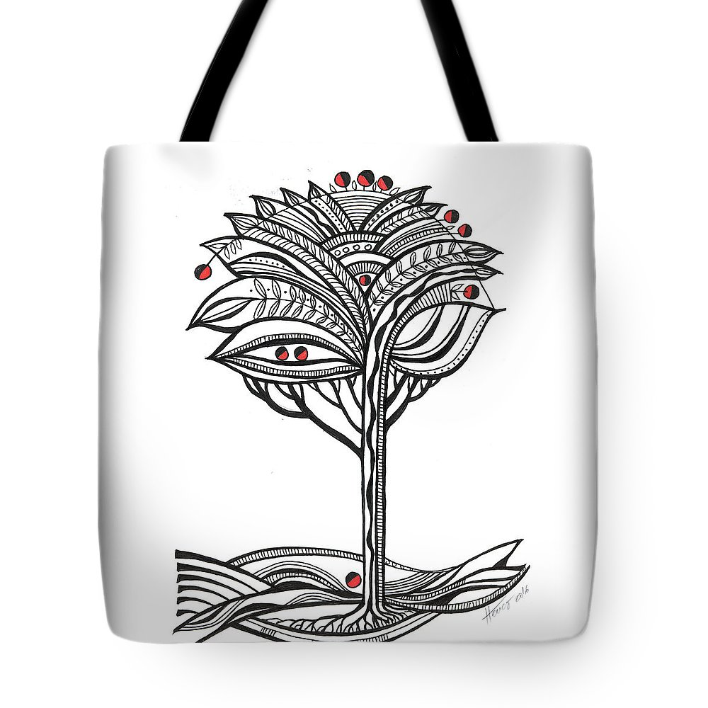 Abstract Tote Bag featuring the drawing The Apple Tree by Aniko Hencz