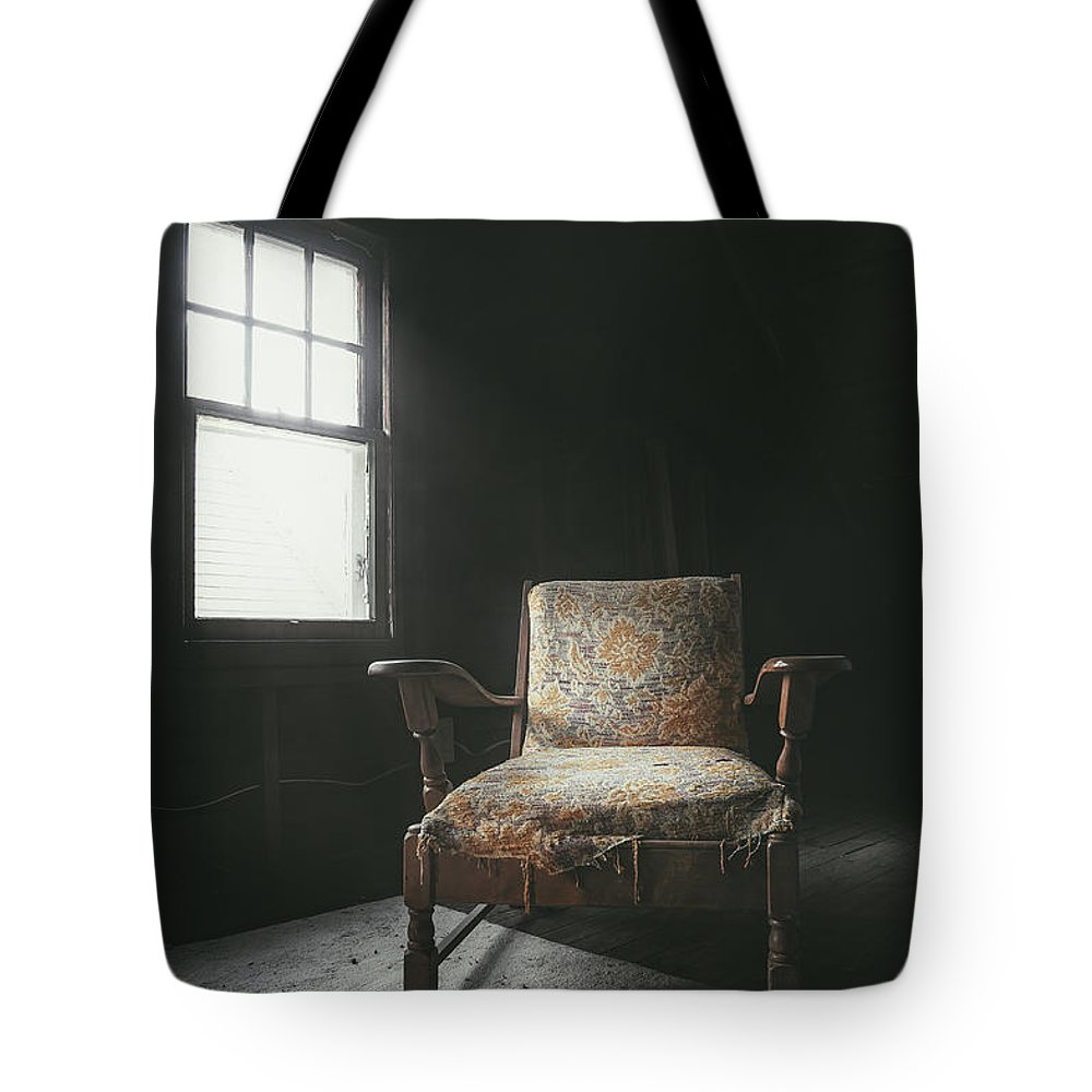 Armchair Tote Bag featuring the photograph The Armchair In The Attic by Scott Norris