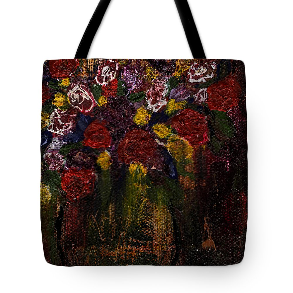 Flowers-paintings - Fine Art By Rae Ann M. Garrett - Abstract Art - Beautiful - Colorful- Art For Art Lovers- Mini Paintings. #artlovers Tote Bag featuring the painting The Arrangement by Rae Ann M Garrett