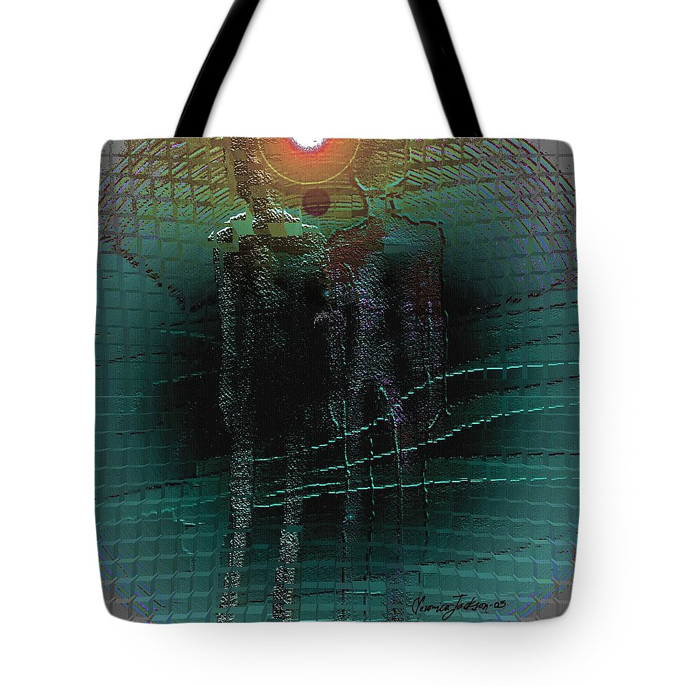 People Alien Arrival Visitors Tote Bag featuring the digital art The Arrival by Veronica Jackson