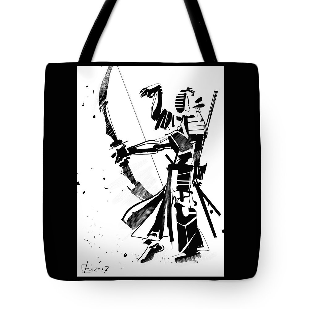Kendo Samurai Japan Ink Tote Bag featuring the digital art The Arrow Whisperer by Fabrizio Uffreduzzi