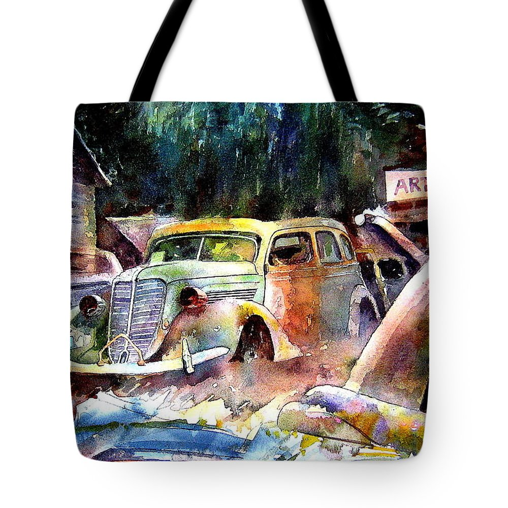 Cars Tote Bag featuring the painting The Art Installation by Ron Morrison