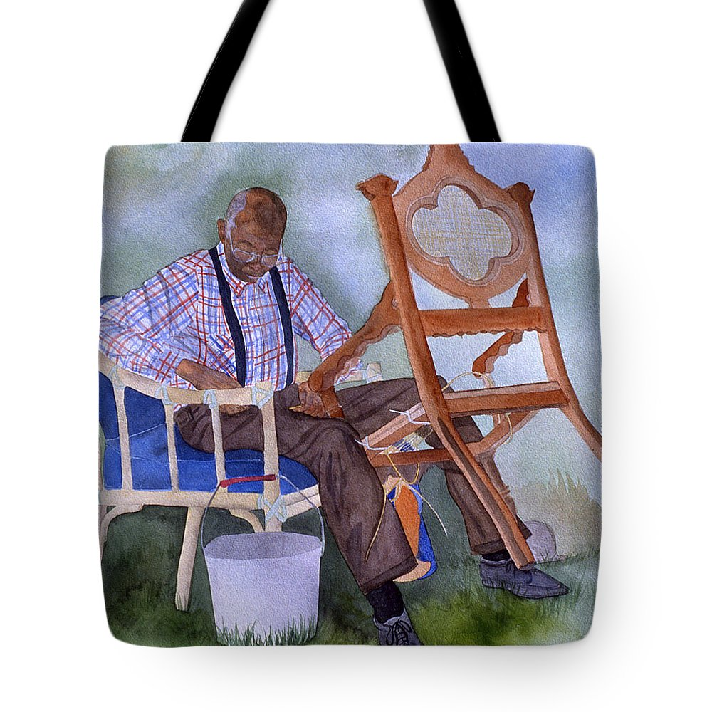 Portrait Tote Bag featuring the painting The Art Of Caning by Jean Blackmer