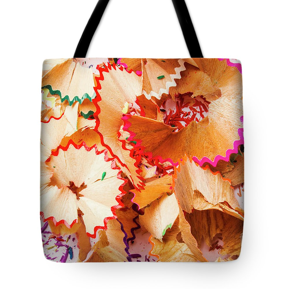 Creative Tote Bag featuring the photograph The Art Of Pencil Shavings by Jorgo Photography - Wall Art Gallery
