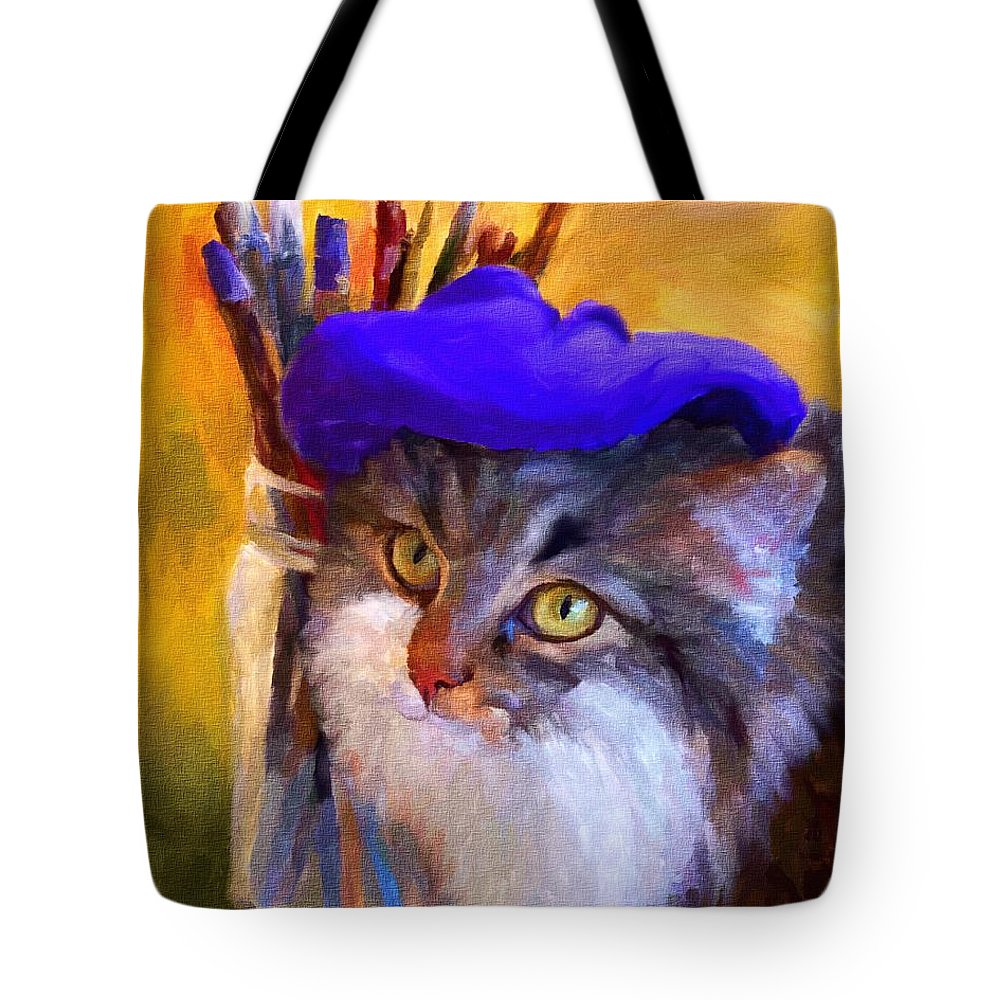 Cat Tote Bag featuring the painting The Artist by Jai Johnson