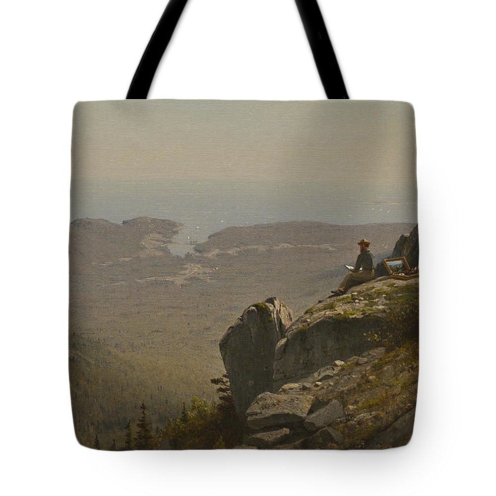The Artist Sketching At Mount Desert Tote Bag featuring the painting The Artist Sketching At Mount Desert by Sanford Robinson Gifford