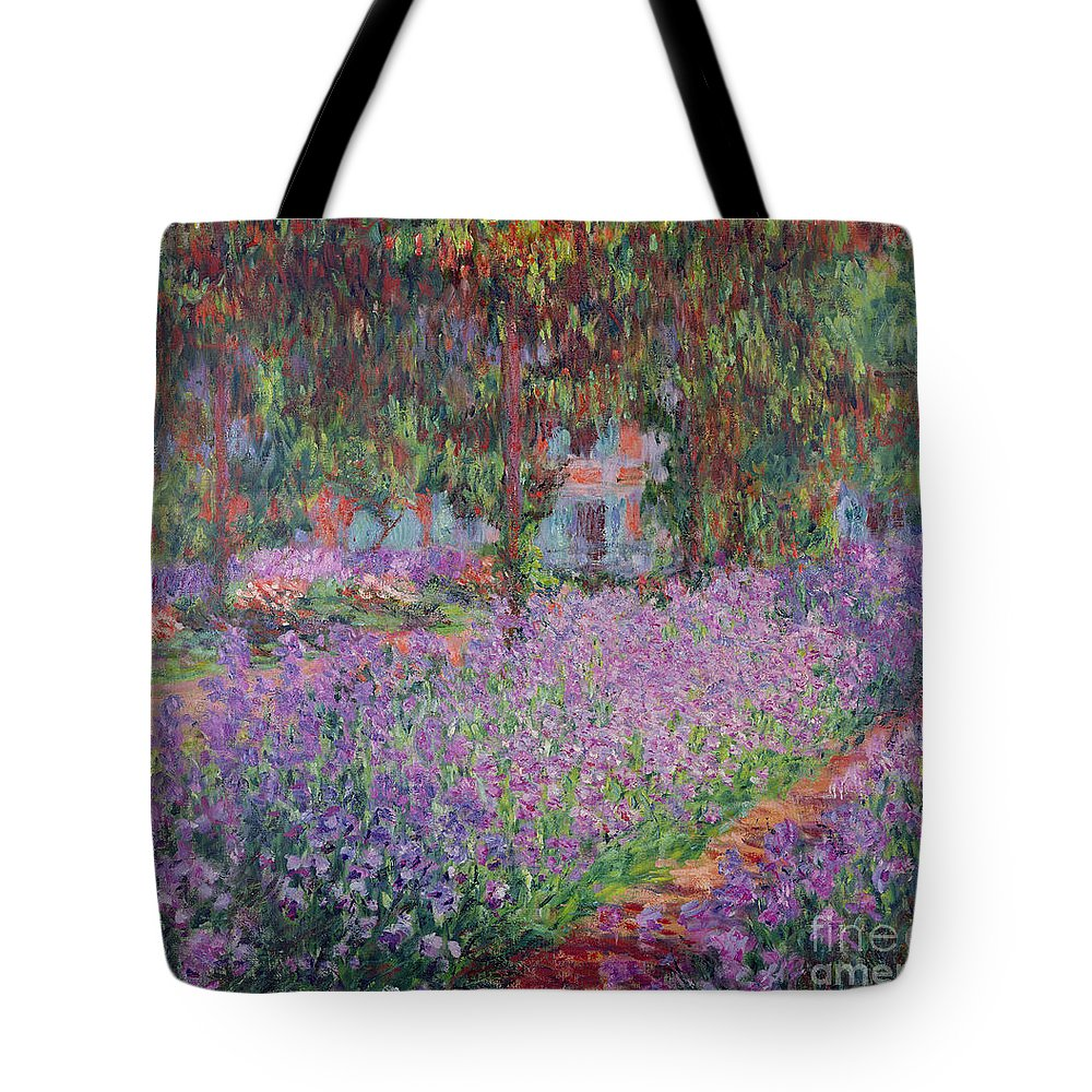 The Tote Bag featuring the painting The Artists Garden At Giverny by Claude Monet