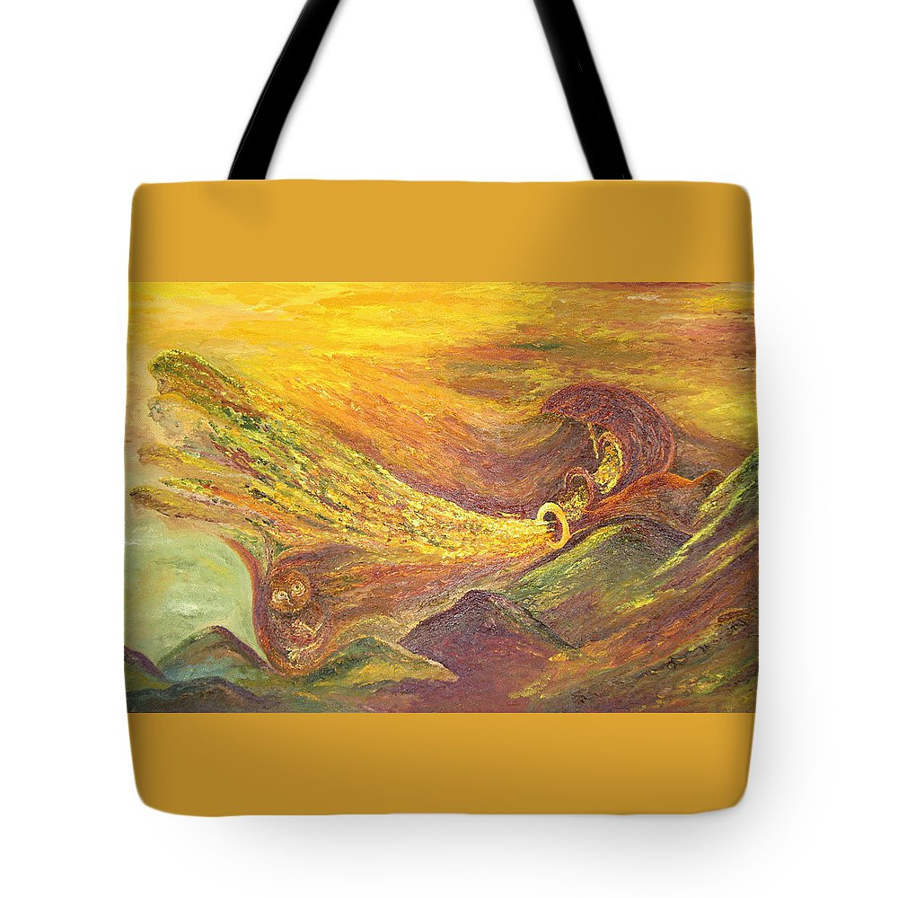 Autumn Tote Bag featuring the painting The Autumn Music Wind by Karina Ishkhanova