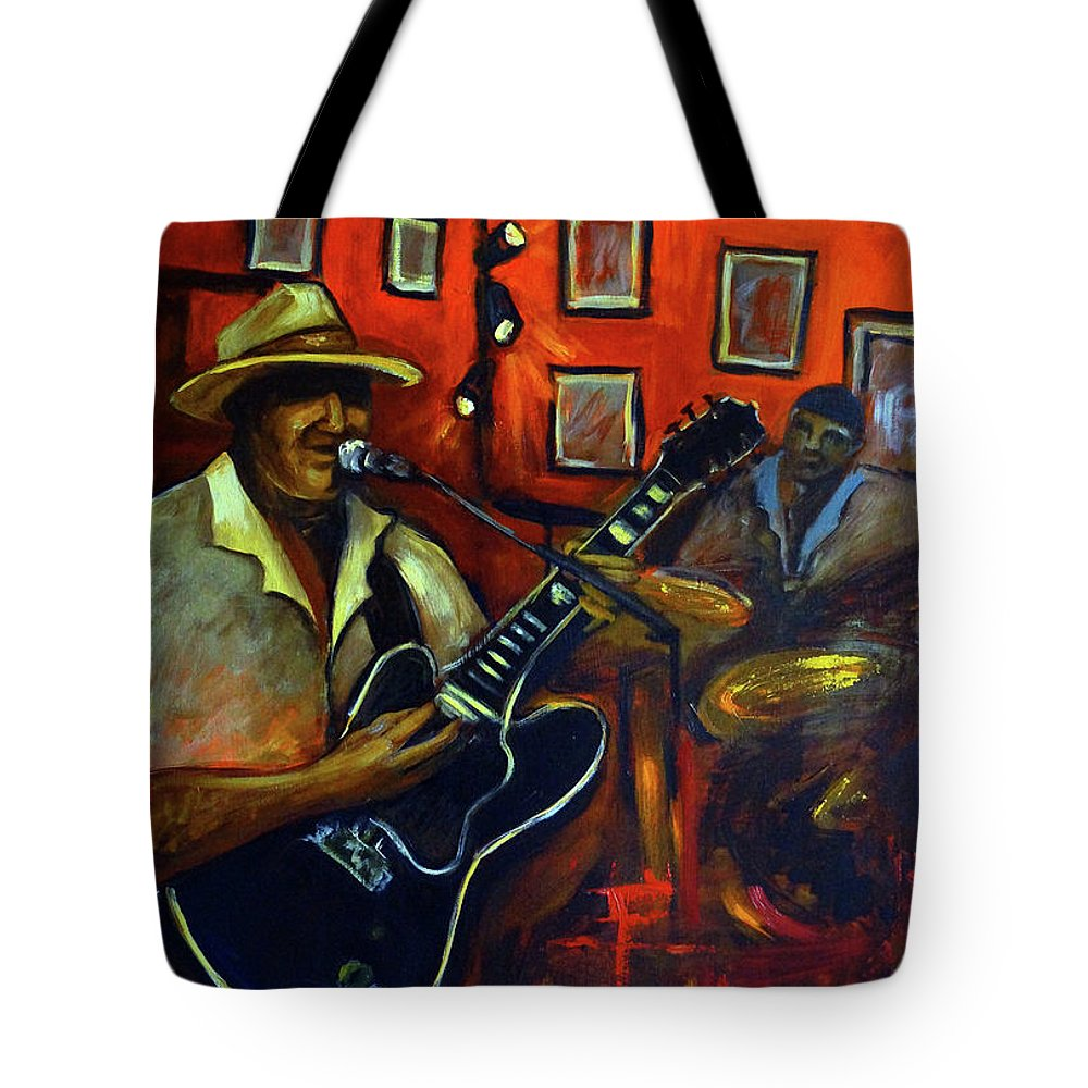 Blues Tote Bag featuring the painting The Back Room by Valerie Vescovi