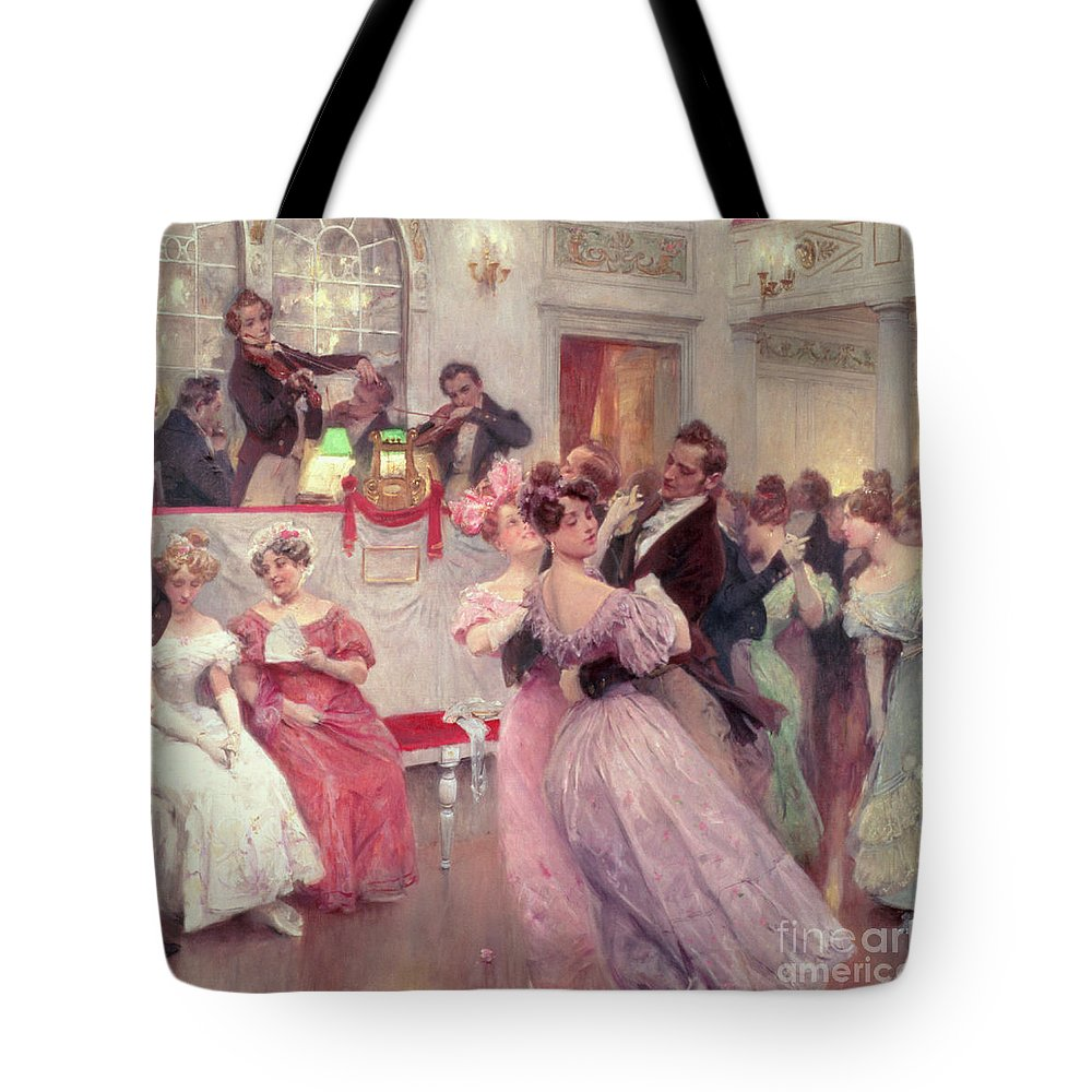Dancing Tote Bag featuring the painting The Ball by Charles Wilda