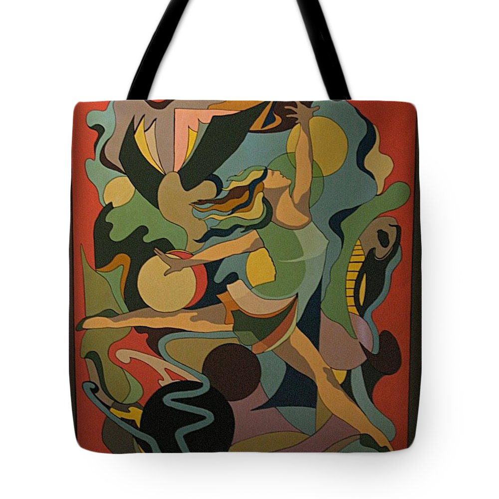 Abstract Tote Bag featuring the painting The Ballet Dancer by Vasilis Bottas