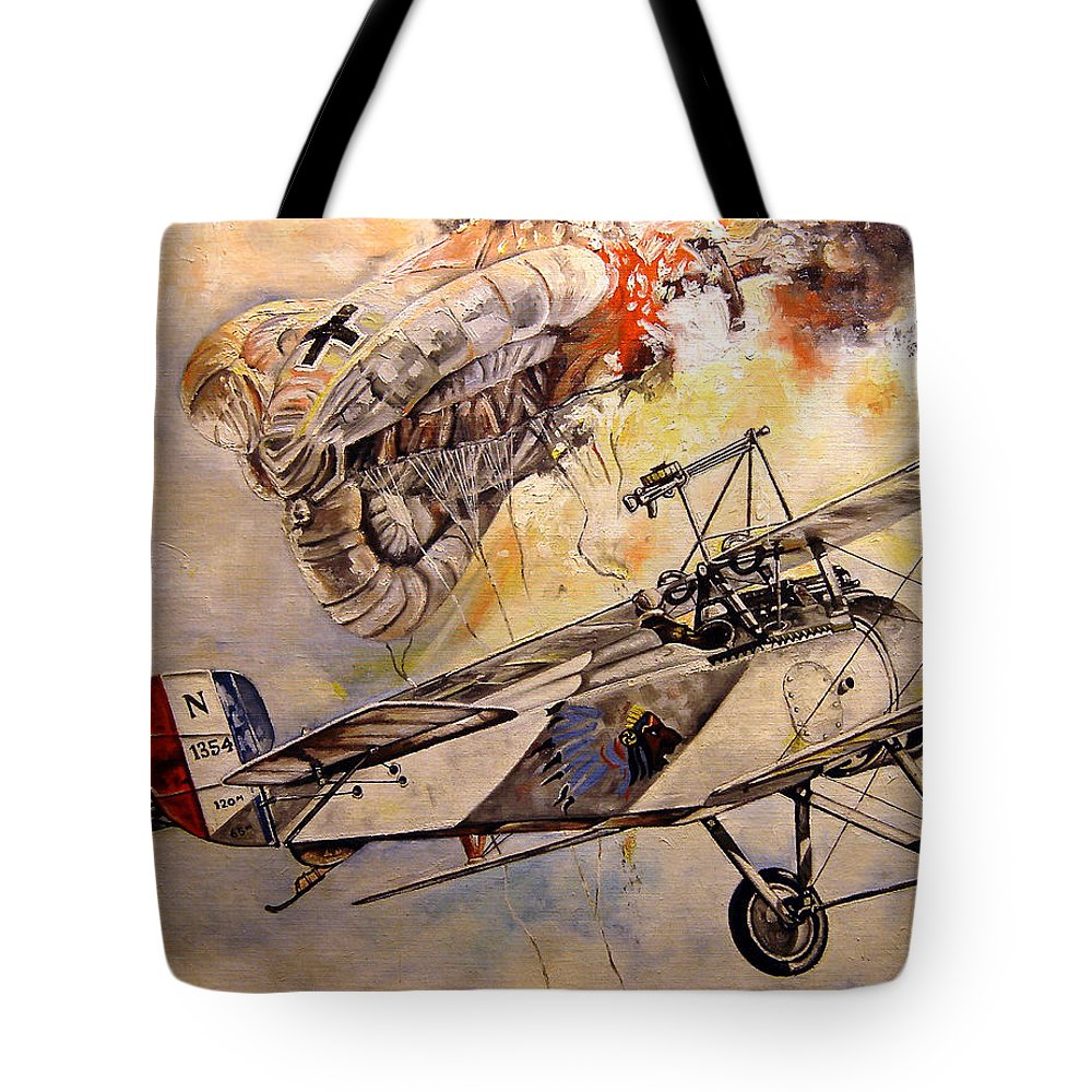 Military Tote Bag featuring the painting The Balloon Buster by Marc Stewart