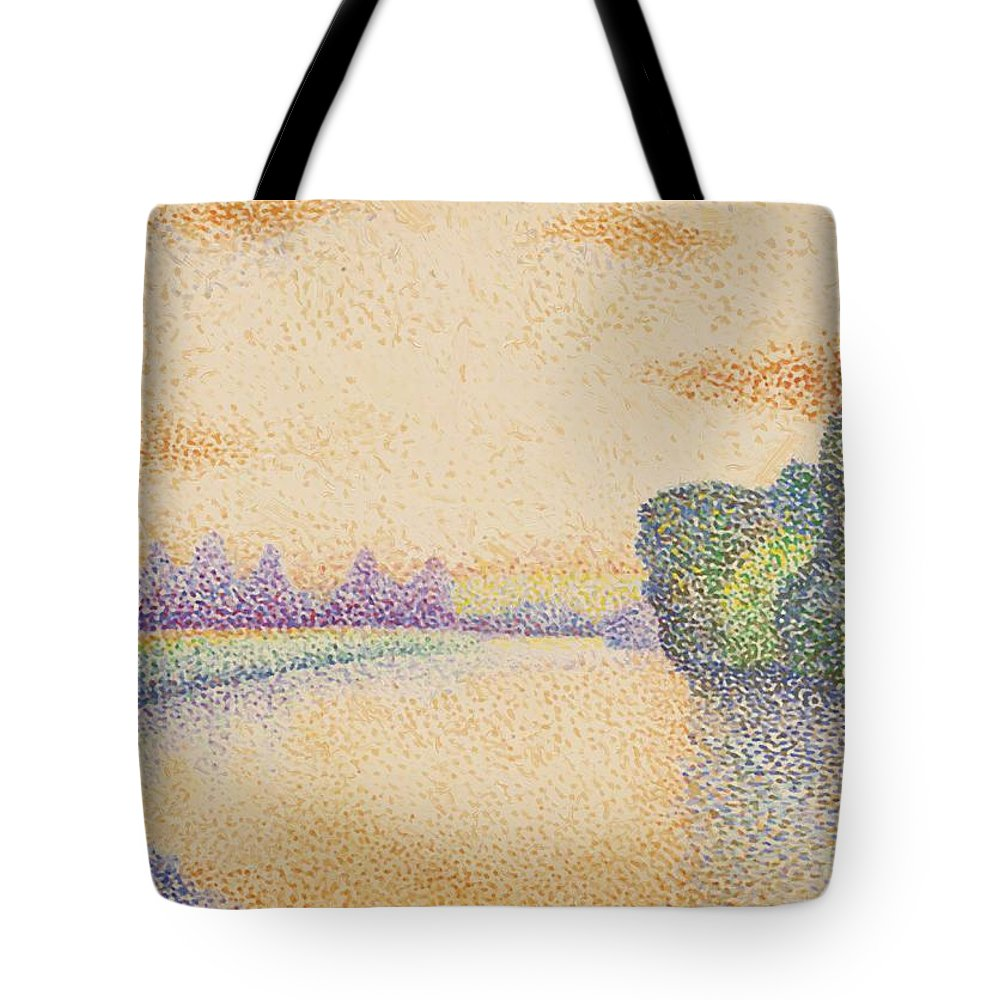The Tote Bag featuring the painting The Banks Of The Marne At Dawn 1888 by DuboisPillet Albert