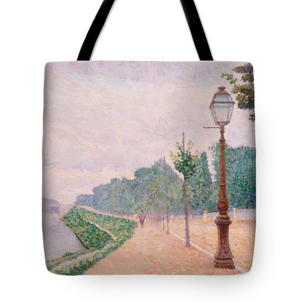 The Tote Bag featuring the painting The Banks Of The Seine At Neuilly 1886 by DuboisPillet Albert