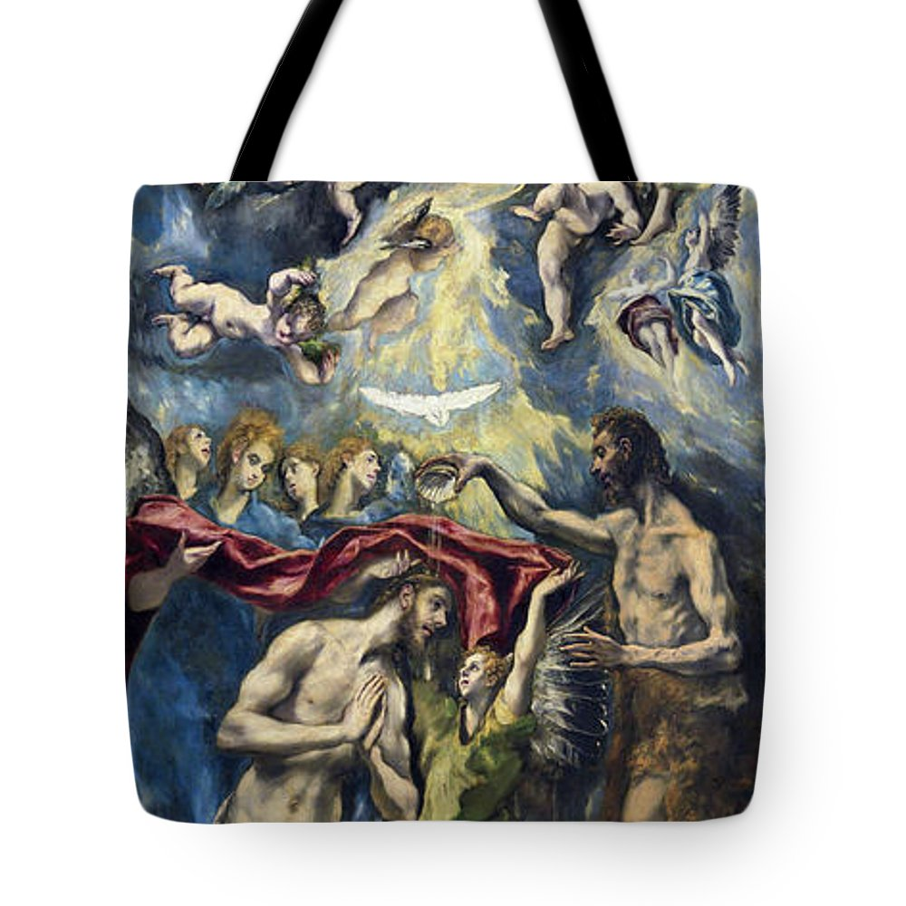 Baptism Tote Bag featuring the painting The Baptism Of Christ by El Greco