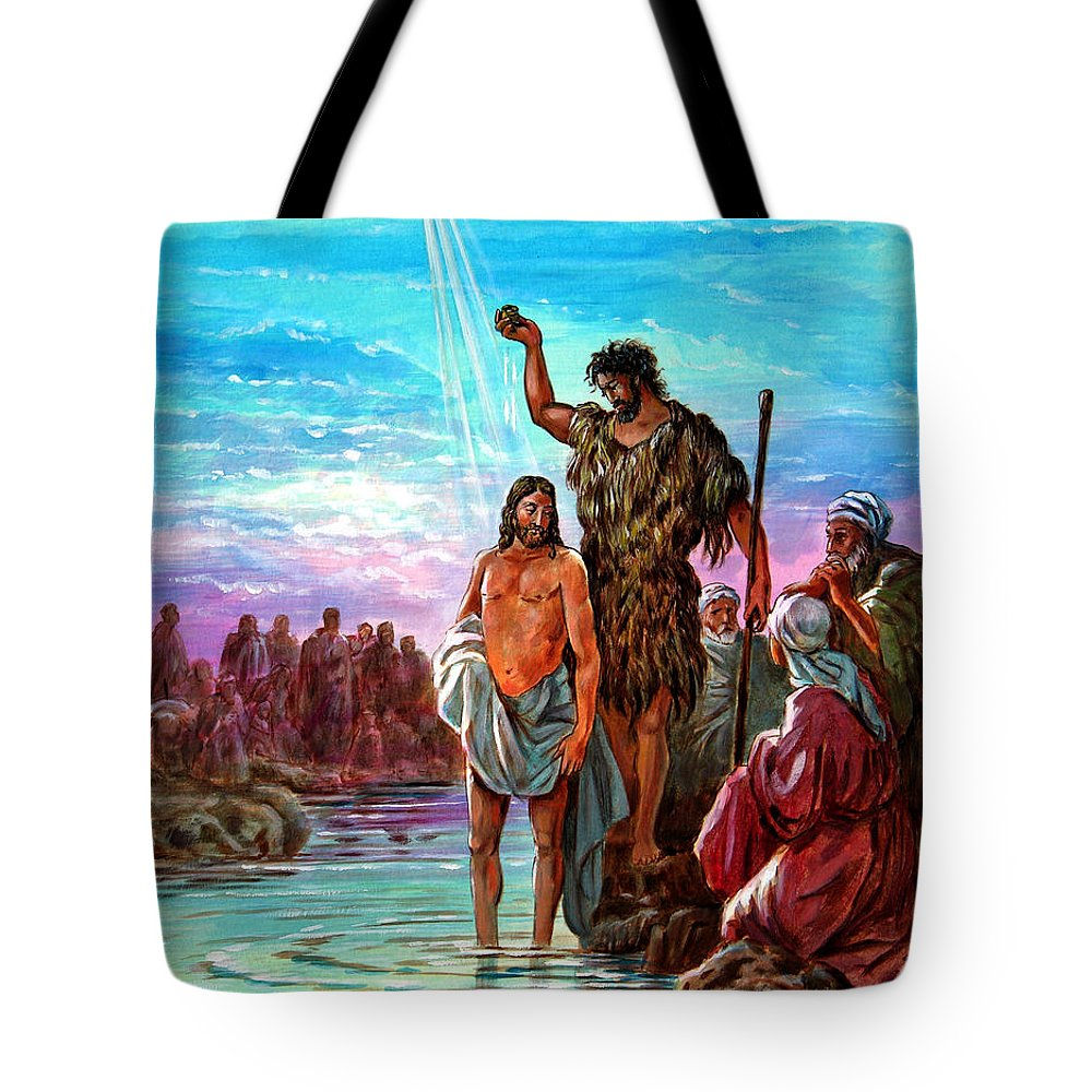 Jesus Tote Bag featuring the painting The Baptism of Jesus by John Lautermilch
