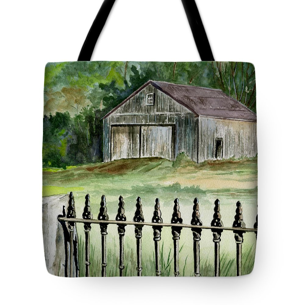 Landscape Tote Bag featuring the painting The Barn At Parsonsfield Maine by Brenda Owen