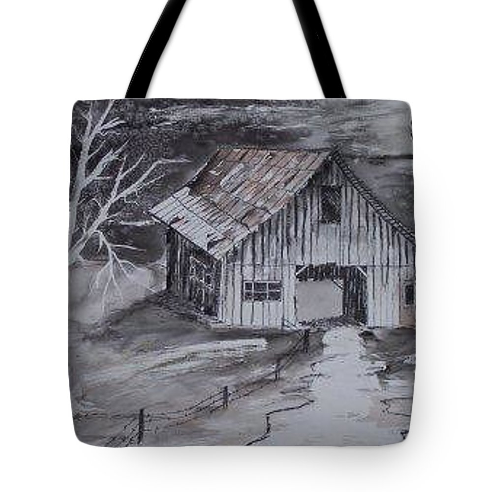 Watercolor Landscape Painting Barn Pen And Ink Painting Drawing Tote Bag featuring the painting The Barn Country Pen And Ink Drawing by Derek Mccrea