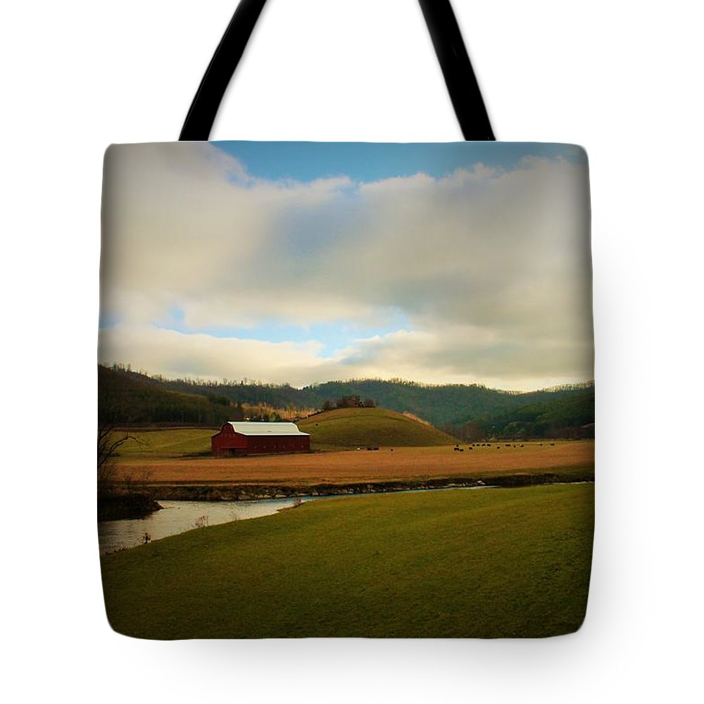 Barn Tote Bag featuring the photograph The Barn On Green Acres by Sandra Bennett
