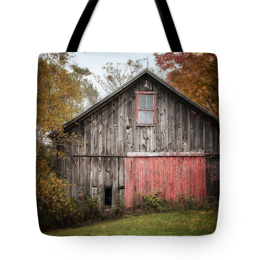 Barn Tote Bag featuring the photograph The Barn With The Red Door by Lisa Russo