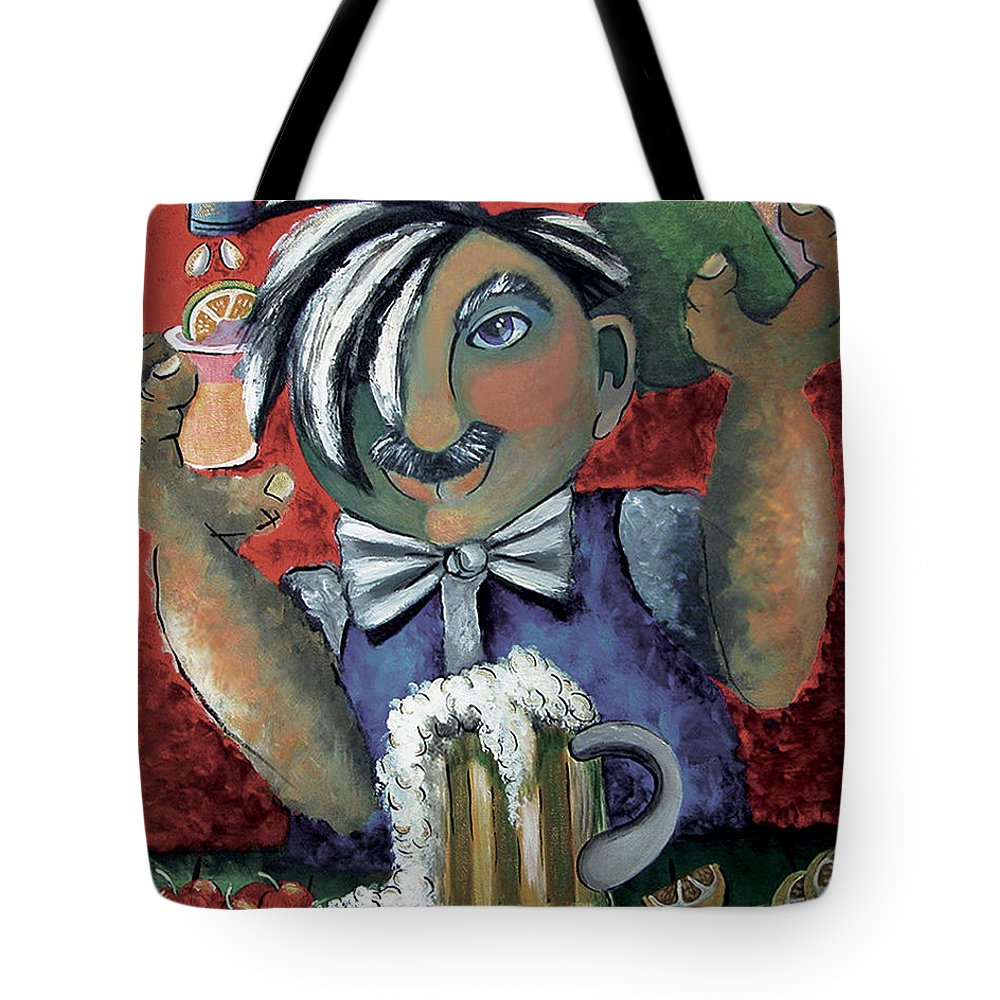 Bartender Tote Bag featuring the painting The Bartender by Elizabeth Lisy Figueroa