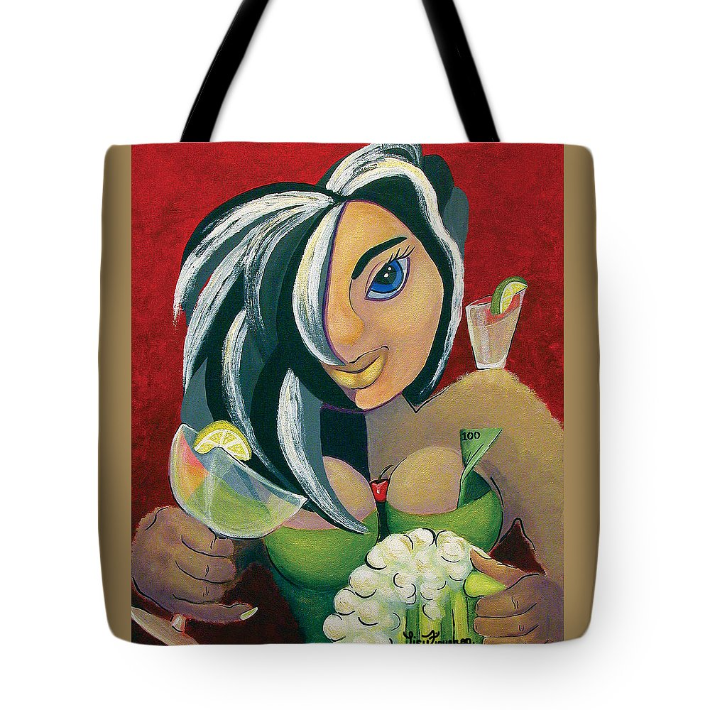 Bar Tote Bag featuring the painting The Barwaitress by Elizabeth Lisy Figueroa