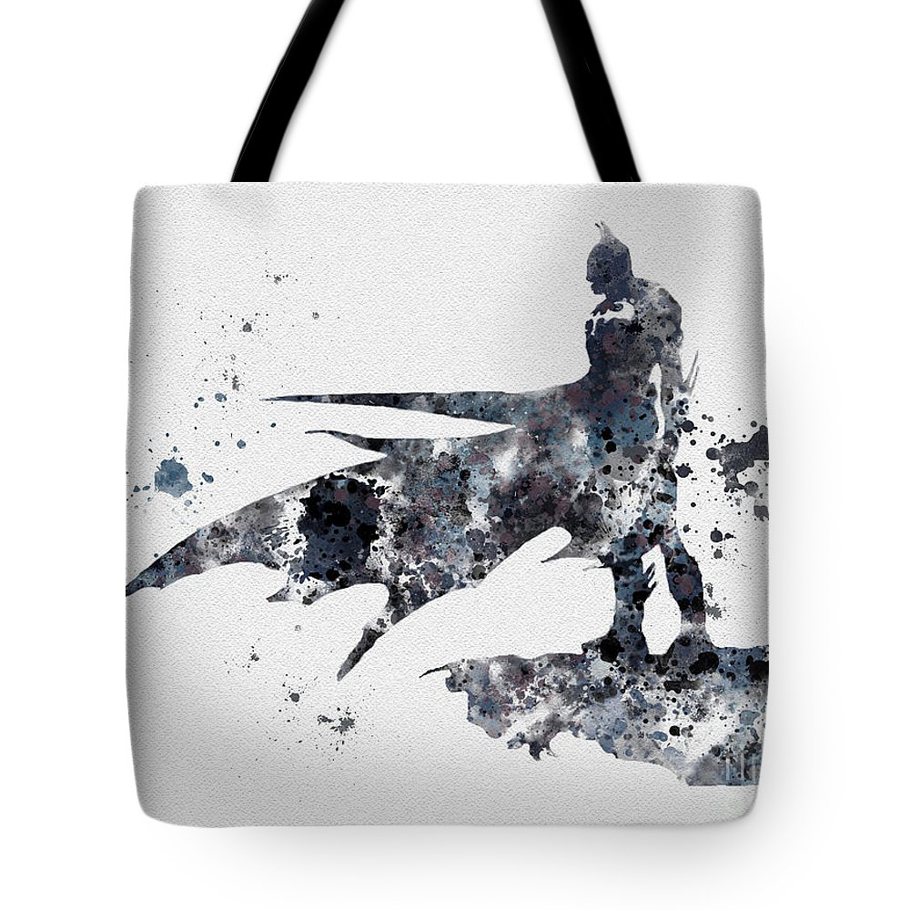 Batman Tote Bag featuring the mixed media The Bat by My Inspiration