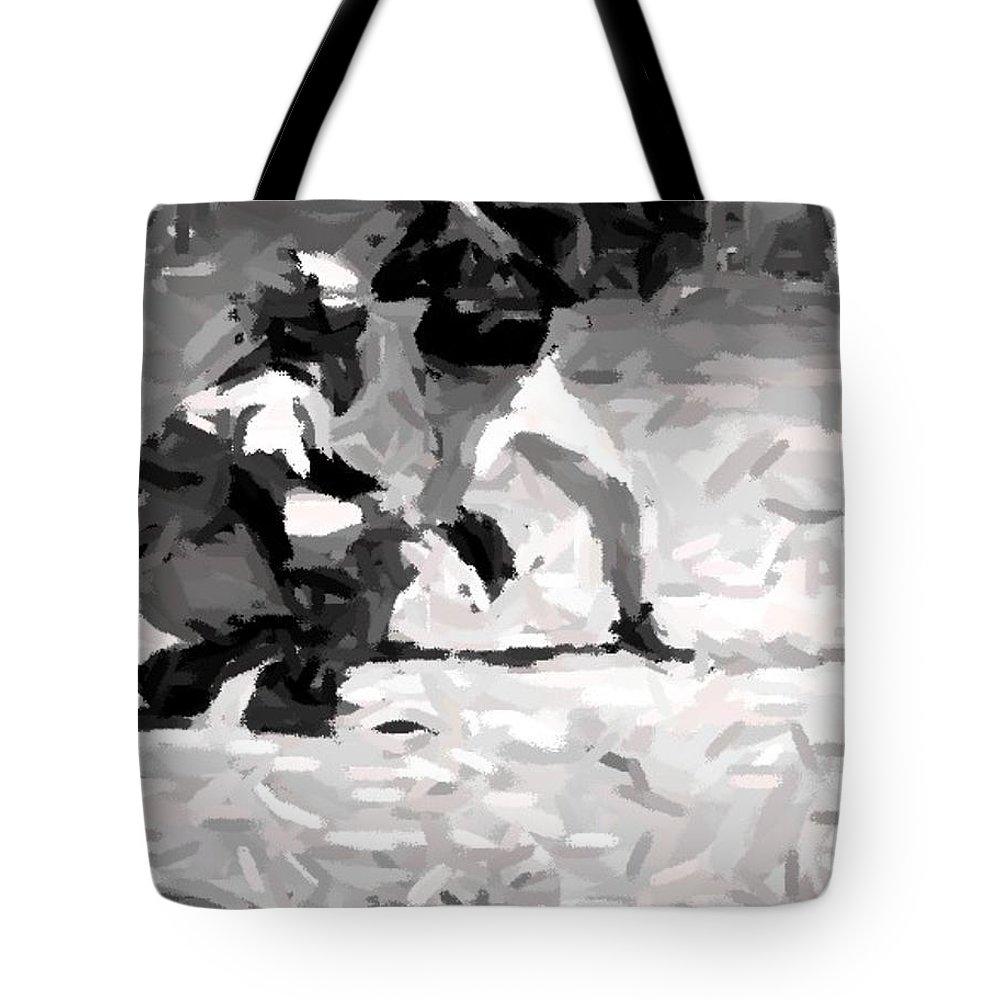 Digital Tote Bag featuring the digital art The Batter by Maria Watt