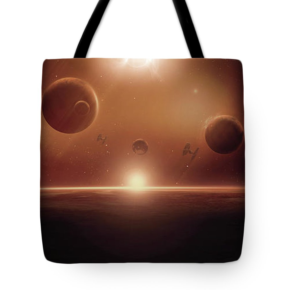 Spacescape Tote Bag featuring the digital art The Battle Continues by Susan Gerardi