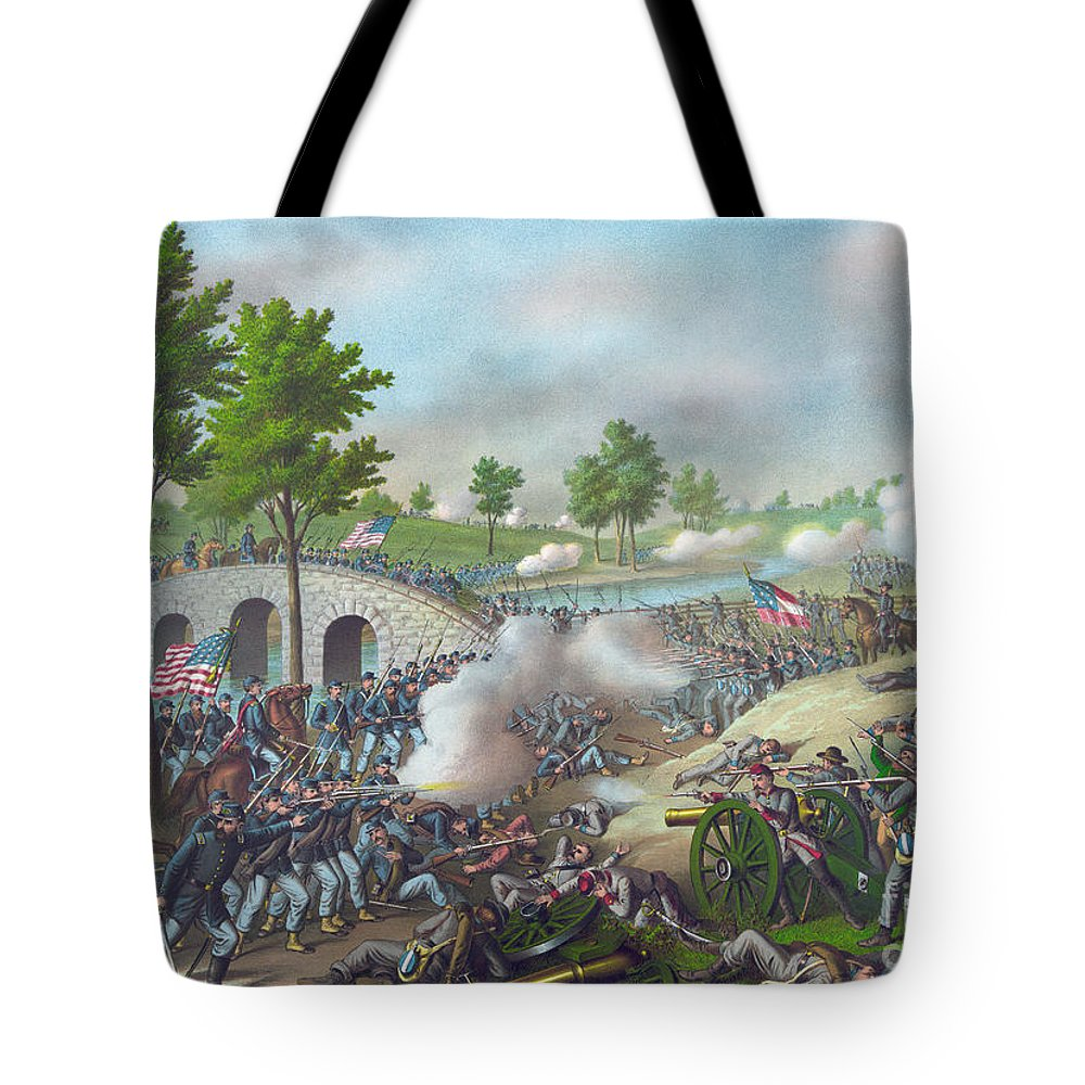 Antietam Tote Bag featuring the painting The Battle Of Antietam by American School