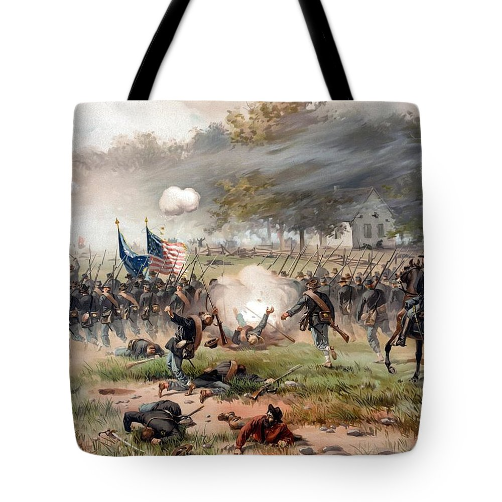 Civil War Tote Bag featuring the painting The Battle Of Antietam by War Is Hell Store