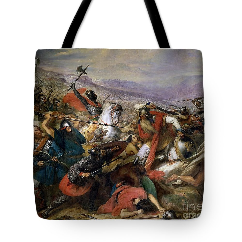 Poitiers Tote Bag featuring the painting The Battle Of Poitiers by Charles Auguste Steuben