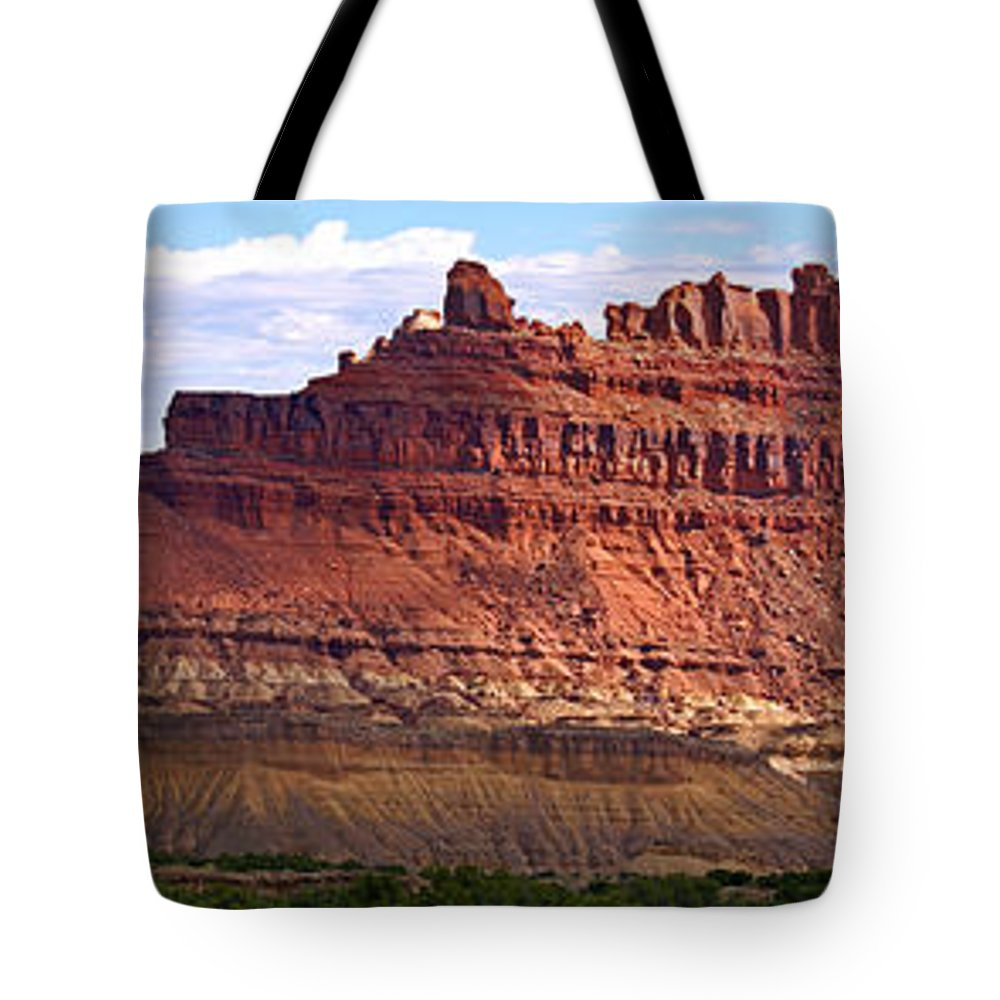 Landscape Utah Tote Bag featuring the photograph The Battleship Utah by Heather Coen