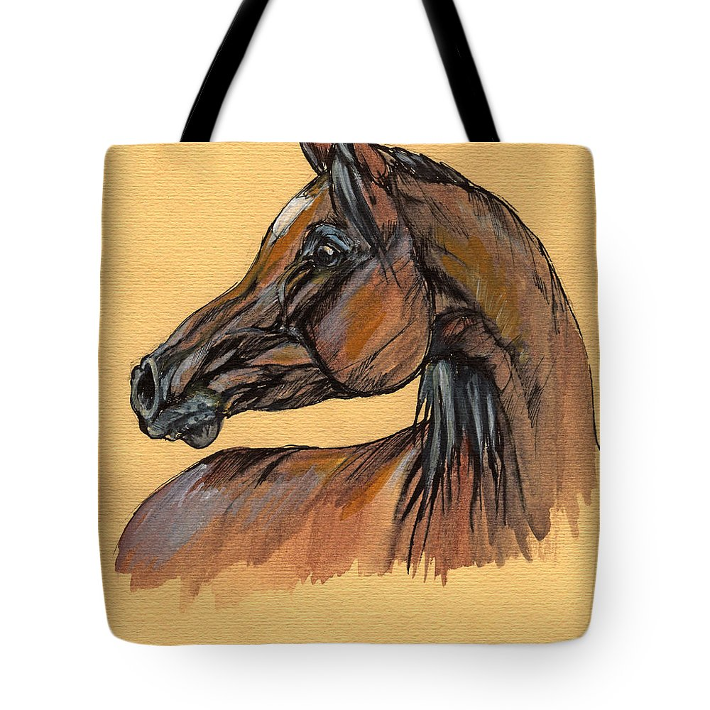 Horse Tote Bag featuring the painting The Bay Arabian Horse 10 by Angel Ciesniarska