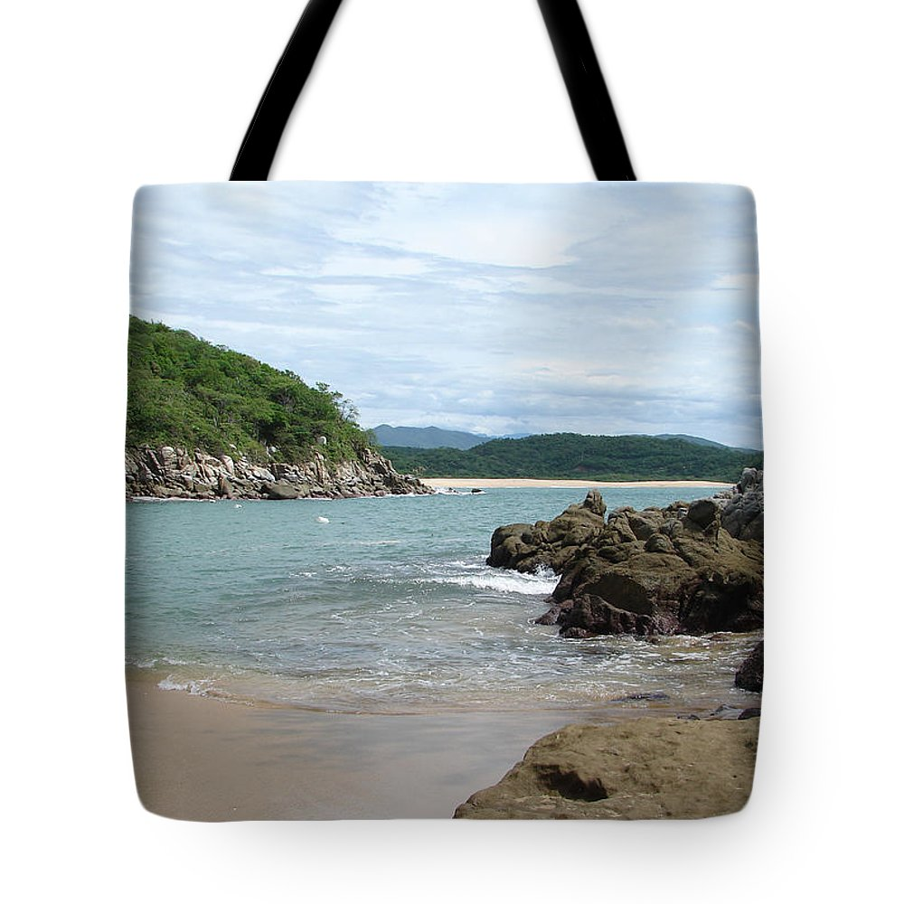 Sand Ocean Sky Blue Rocks Trees Tote Bag featuring the photograph The Beach 1 by Luciana Seymour