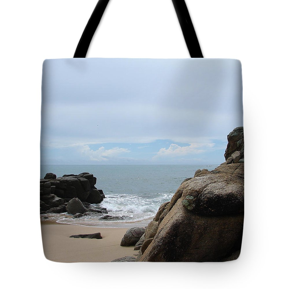 Sand Ocean Clouds Blue Sky Rocks Tote Bag featuring the photograph The Beach 2 by Luciana Seymour