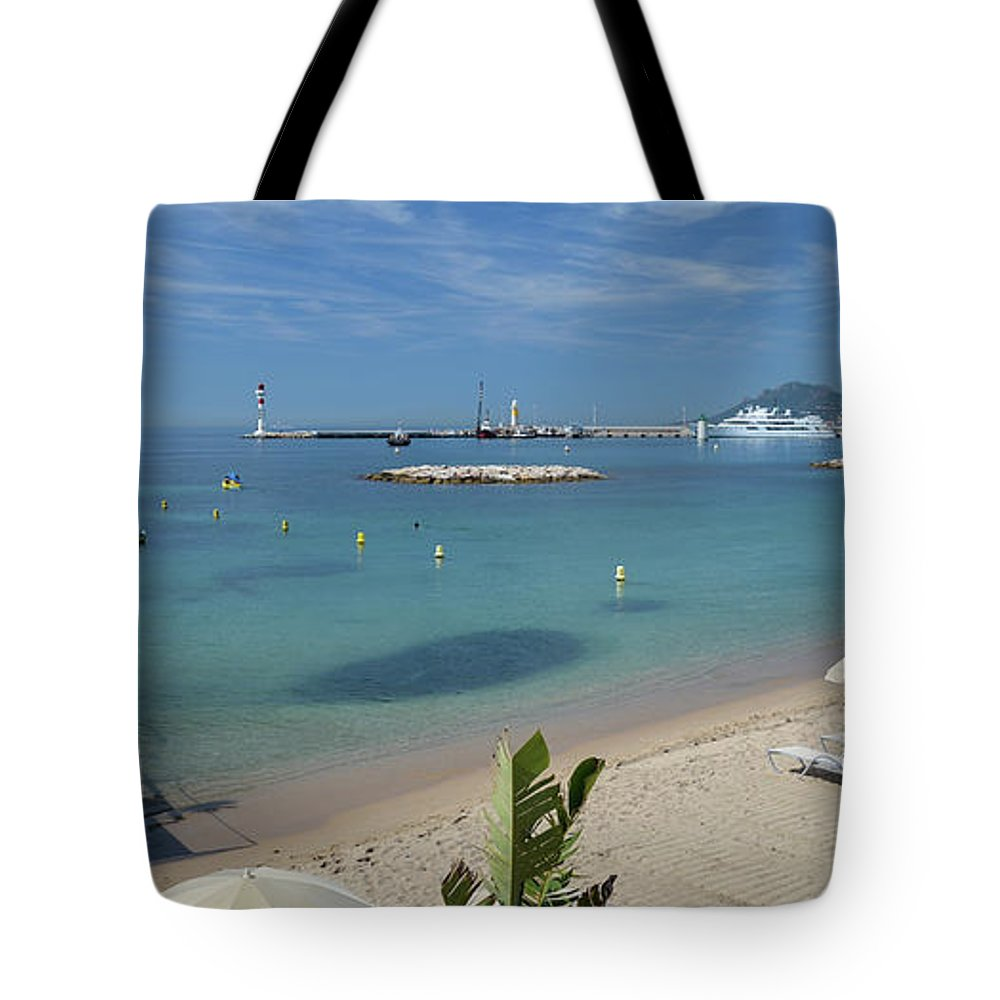 Seascape Tote Bag featuring the photograph The Beach At Cannes by Allen Sheffield