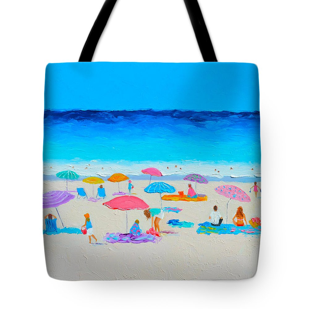 Beach Tote Bag featuring the painting The Beach Holiday by Jan Matson