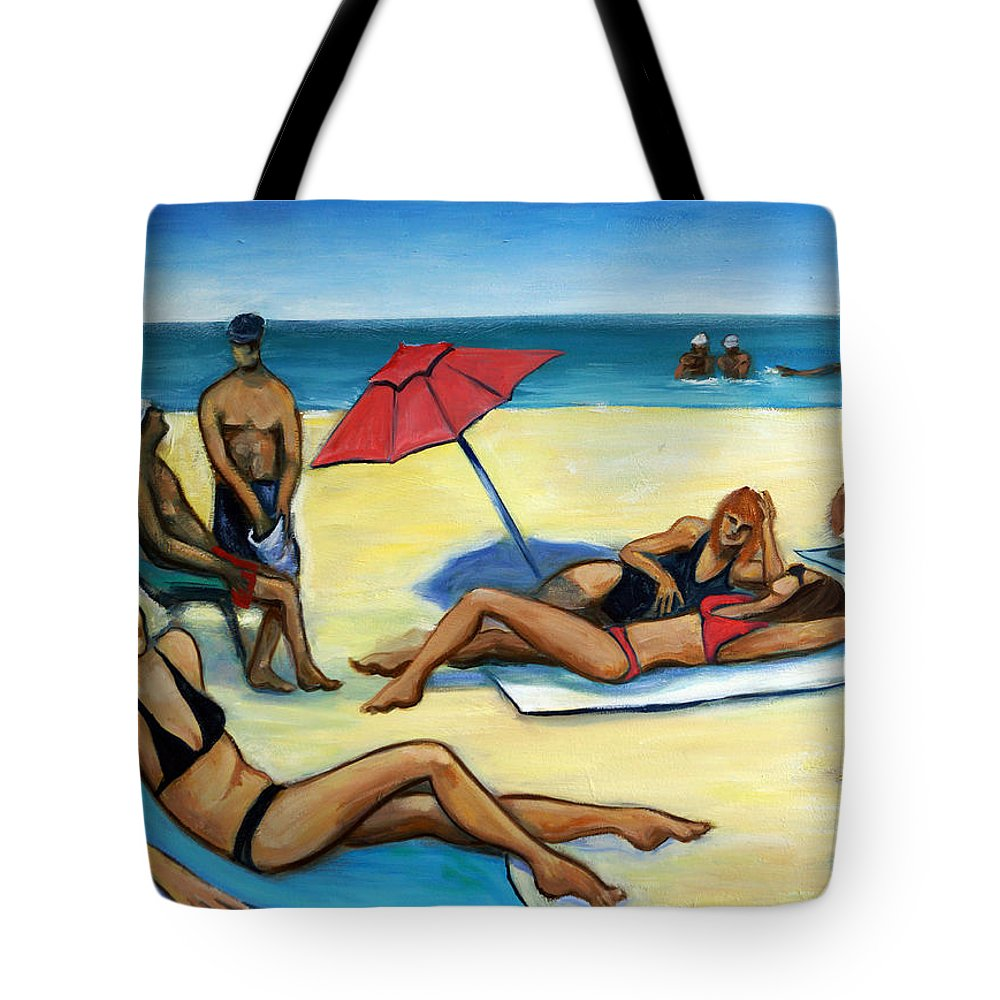 Beach Scene Tote Bag featuring the painting The Beach by Valerie Vescovi