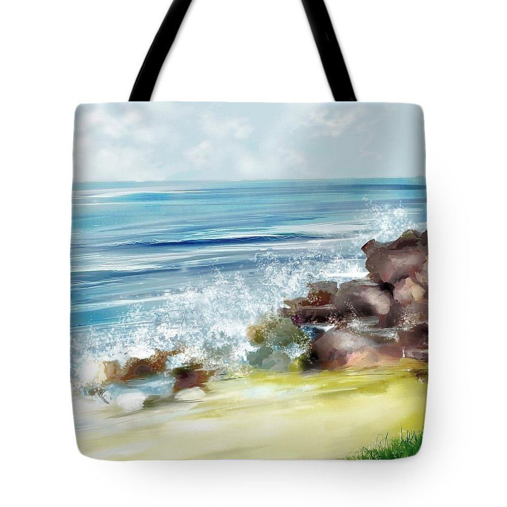 Beach Ocean Water Summer Waves Splash Tote Bag featuring the digital art The Beach by Veronica Jackson