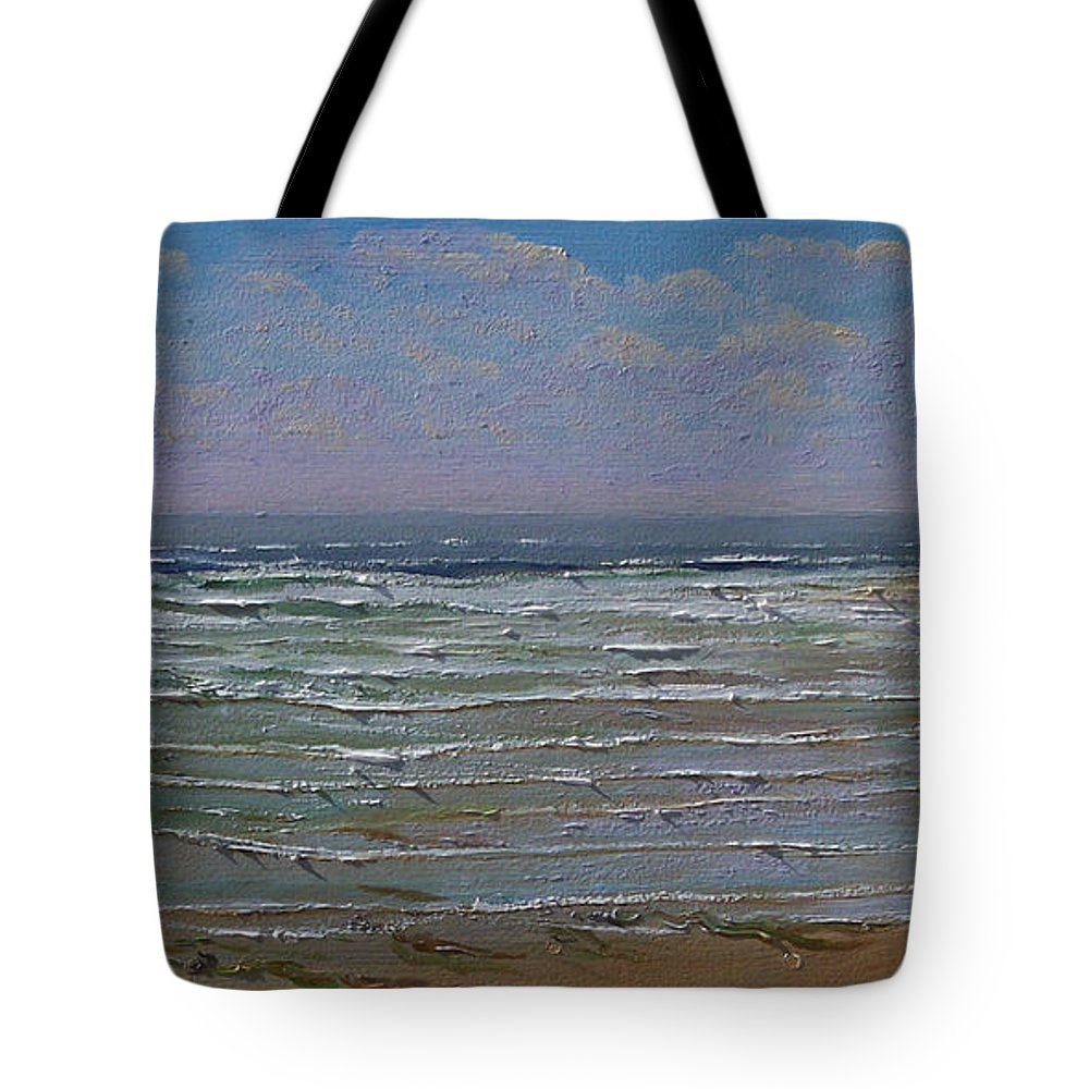 Seascape Tote Bag featuring the painting The Beachcomber by Frank Wilson