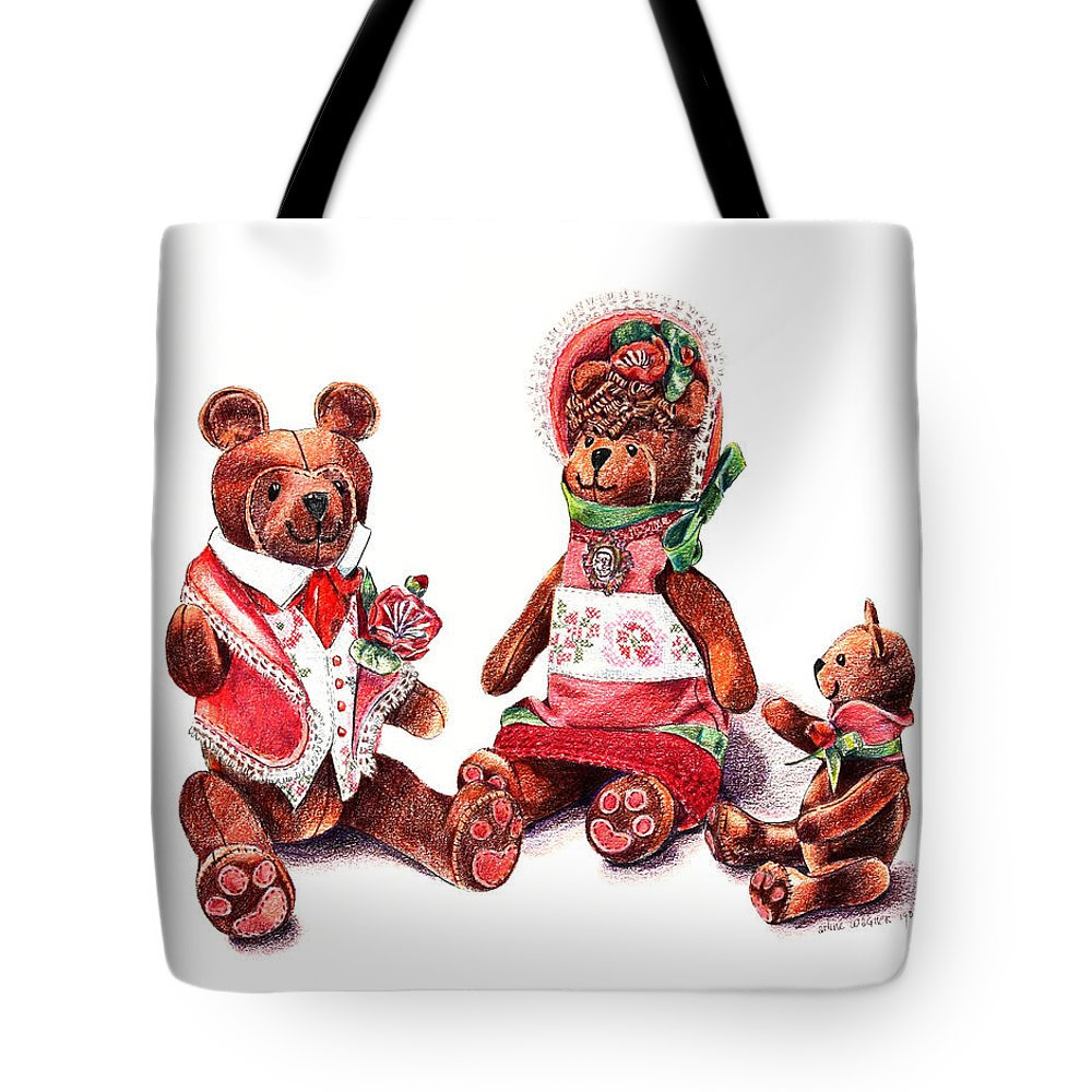 Teddy Bear Tote Bag featuring the drawing The Bear Family by Arline Wagner