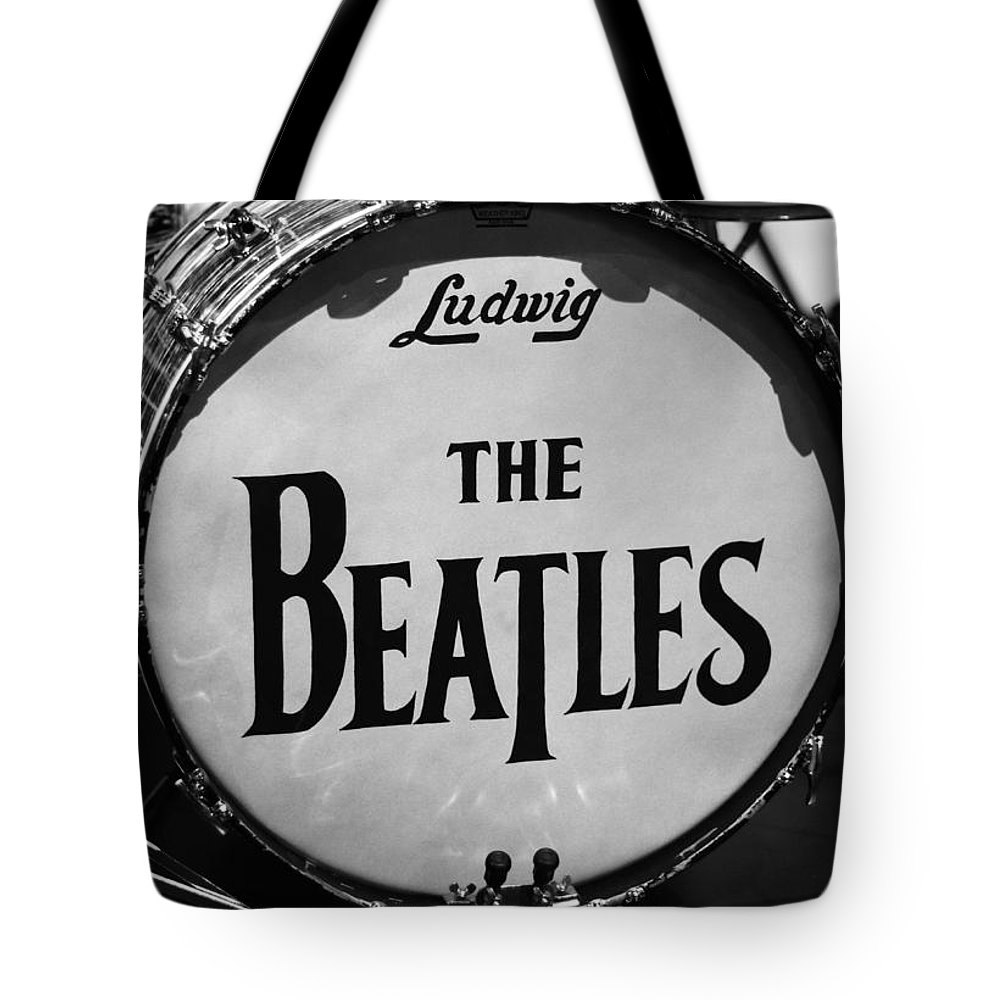 The Beatles Drum Tote Bag featuring the photograph The Beatles Drum by Dan Sproul