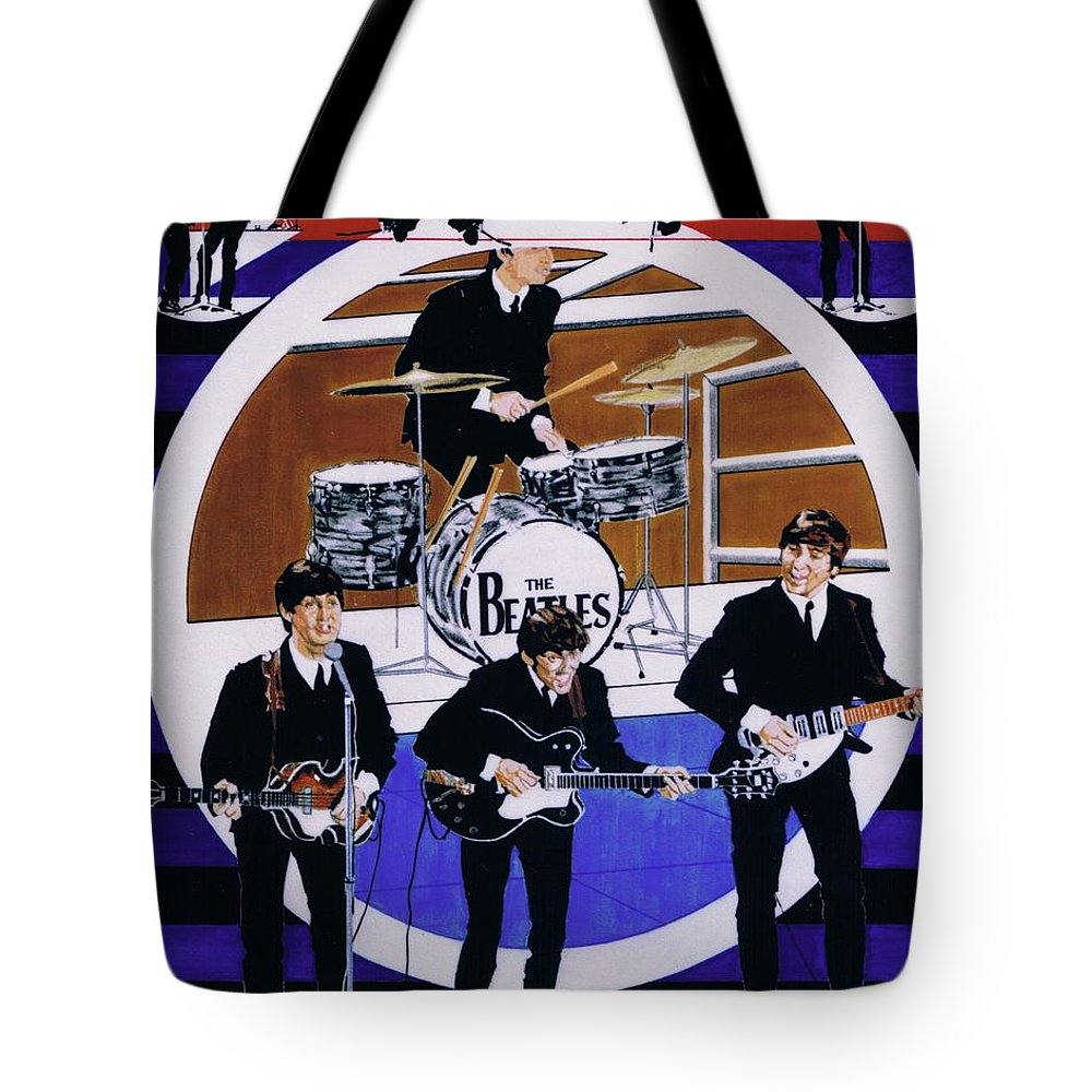 1960s Tote Bag featuring the drawing The Beatles - Live On The Ed Sullivan Show by Sean Connolly