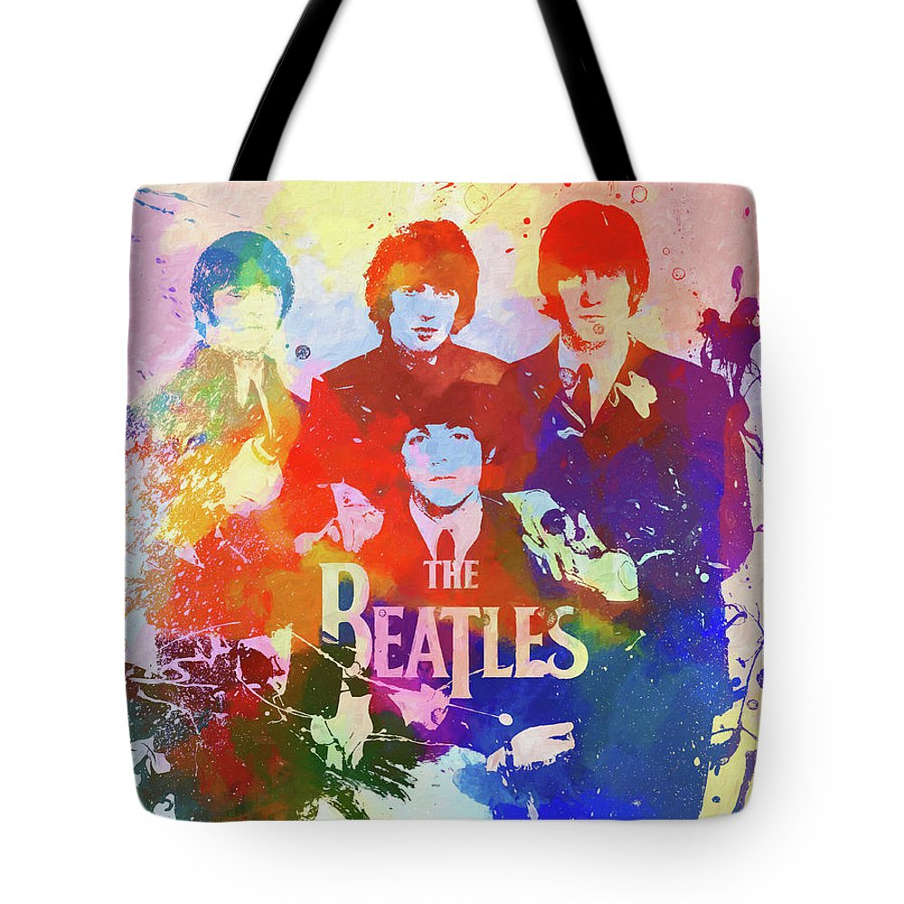 The Beatles Watercolor Tote Bag featuring the painting The Beatles Paint Splatter by Dan Sproul