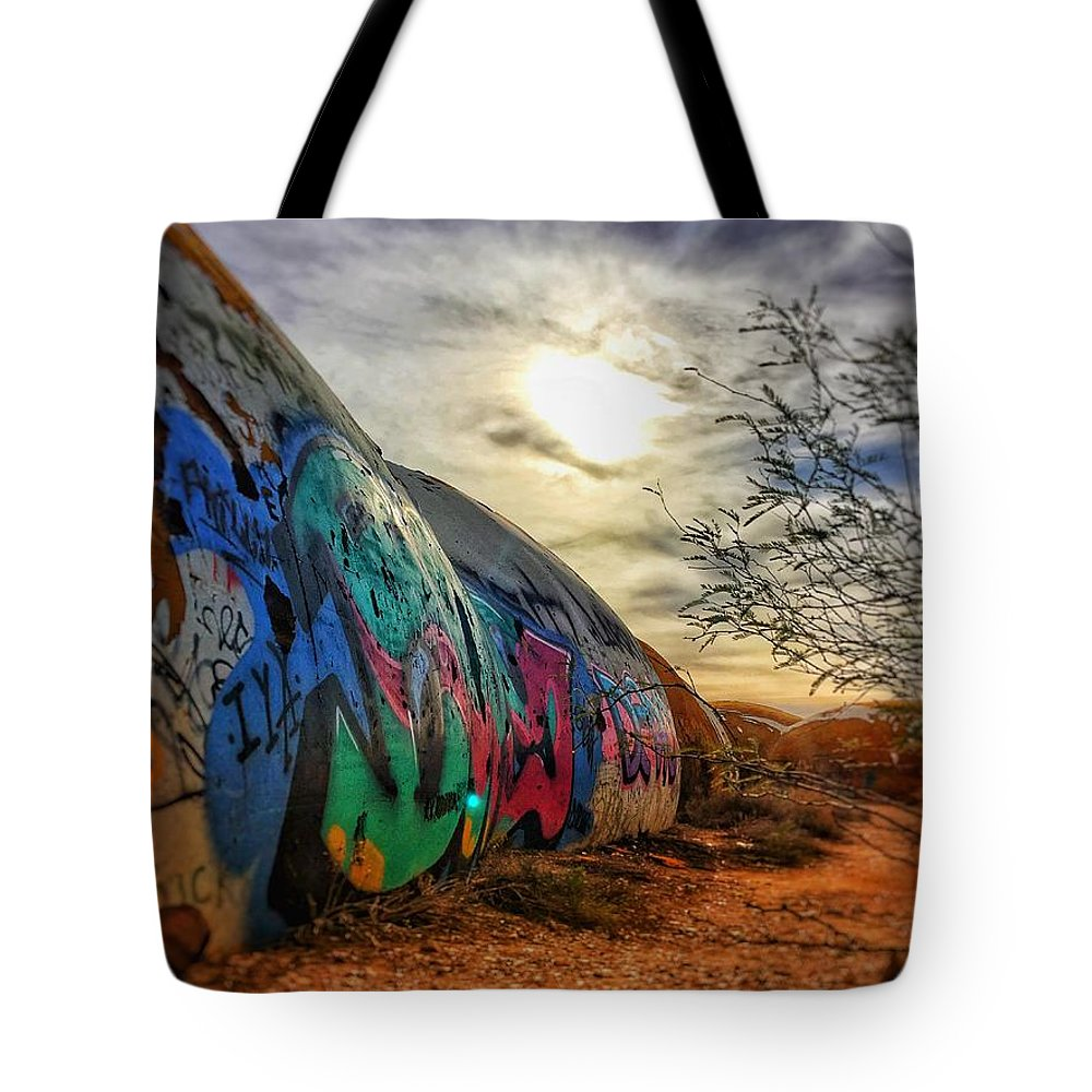 Domes Graffiti Desert Arizona Artwork Casa Grande Rural Town Art Tote Bag featuring the photograph The Beauty In The Madness by Brandon Stevens
